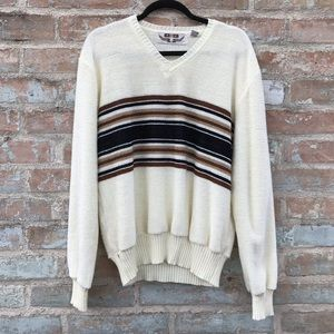 Vintage Chenille Sweater 70s Ivory Striped V-Neck